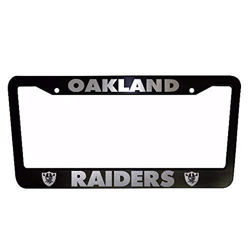 ClustersNN Bhartia Oakland Raiders Black Chrome License Plate Frame Stainless Metal Tag Holder 12