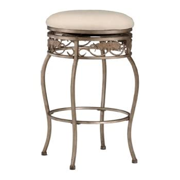 hillsdale bordeaux 30 inch backless swivel bar stool pewter with bronze finish off. Black Bedroom Furniture Sets. Home Design Ideas