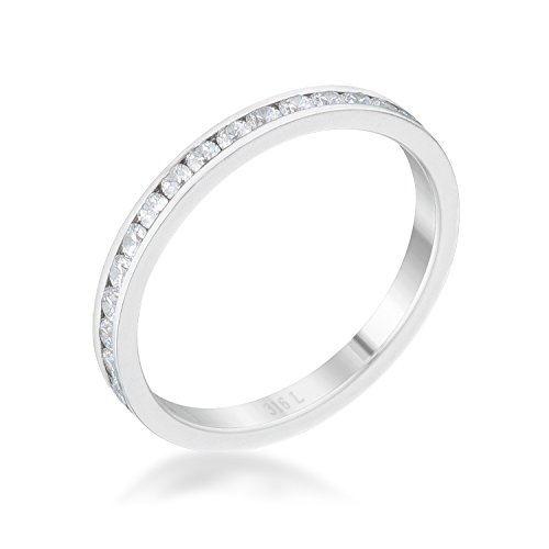 Classic | Simple Ring for Woman Clear Round Cubic Zirconia Channel Setting Size 7 from Kate Bissett