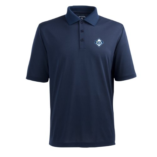 """Tampa Bay Rays MLB """"Pique Extra Lite"""" Men's Polo (Navy) (X Large)"""