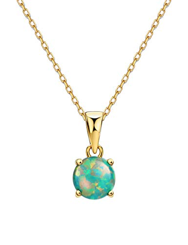 Mints 18K Gold Plated Opal Pendant Necklace 4 Prongs Setting Solitaire Fine Jewelry for Women