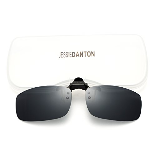 JESSIEDANTON Polarized Clip-on Flip Up Metal Clip Rimless Sunglasses for Eyeglasses, Lightweight, M Size, Black ()