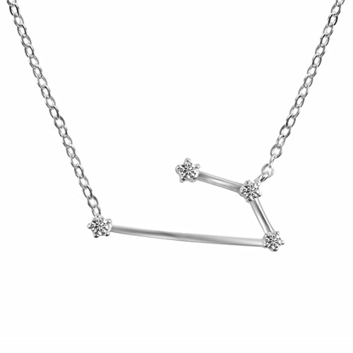 TQS Horoscope Plated Silver Necklace Zodiac Sign Pendant Constellation Charm - Astrology Choker By - Zodiac Power Pendant