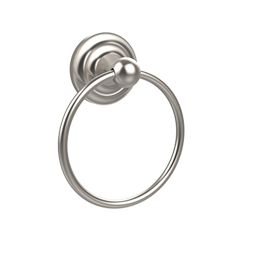 - Allied Brass PQN-16-SN Prestige Que New Collection Towel Ring, Satin Nickel