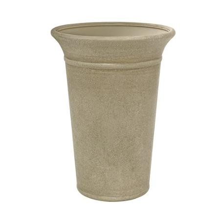 """Better Homes and Gardens Langston 16"""" X 21"""" Lightweight Expensive Stone Standing Resin Planter, Taupe"""