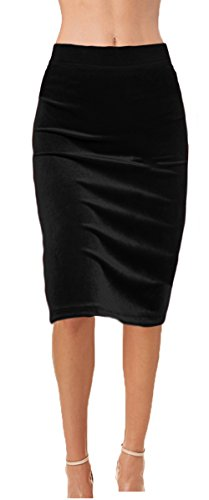 Ooh la la Womens Fully Lined Sequin Pencil Skirt with Soft Stretch Waistband (X-Large, Black Velvet)