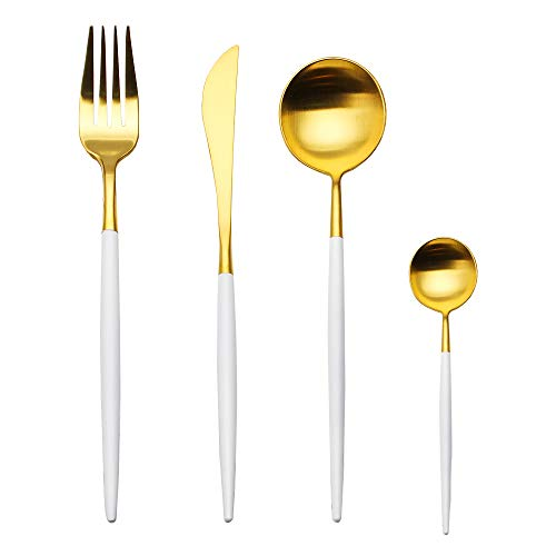 4-Piece Stainless Steel Flatware Set 1 Including Fork Spoons Knife Tableware (White+Golden)