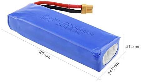 Silverfer 3pcs Mise à Niveau 7.4v 2300mAh 2S 35C Batterie Rechargeable Li-po avec XT30 Plug pièces de Rechange pour MJX Bugs 6 B6 RC Drone Quadcopter-Blue-1 Taille