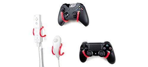 Wall Clip - Xbox One, PS4, Switch, and Retro Game Controller Organizer - 4 Pack, Red