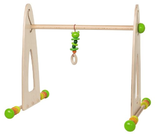 (HABA Color Fun Play Gym - Wooden Activity Center with Adjustable Height, Sliding Discs and Dangling Frog)