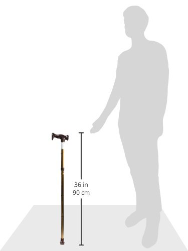 HealthSmart Adjustable Folding Cane with Ergonomic Handle, Lightweight, Sturdy and Support up to 250 pounds, Great for Travel, Walking Stick, Bronze