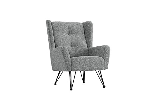 Mid-Century Modern Linen Fabric Accent Armchair with Shelter Style Back Rest (Light Grey)