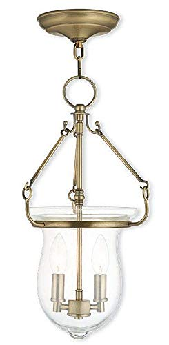 (Livex Lighting 50294-01 Canterbury - Two Light Pendant, Antique Brass Finish with Clear Glass)