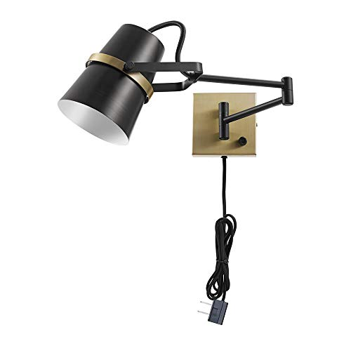 Novogratz x Globe Electric McKibbin 1-Light Matte Black Plug-In or Hardwire Swing Arm Wall Sconce 51345