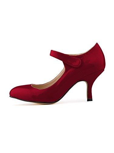 OCHENTA Mujer talones de la novia del tobillo PU de charol zapatos de trabajo Vino rojo