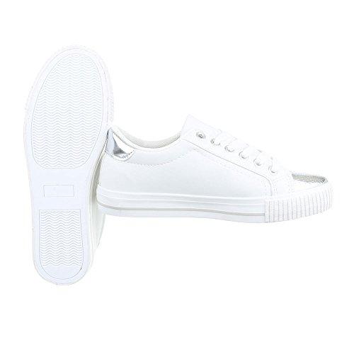 Ital-Design - Zapatillas de casa Mujer Weiß Silber PQ-9