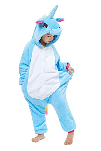 Yutown New Kids Unicorn Costume Animal Onesie Pajamas Halloween Dress Up Gift Blue Pegasus 100]()