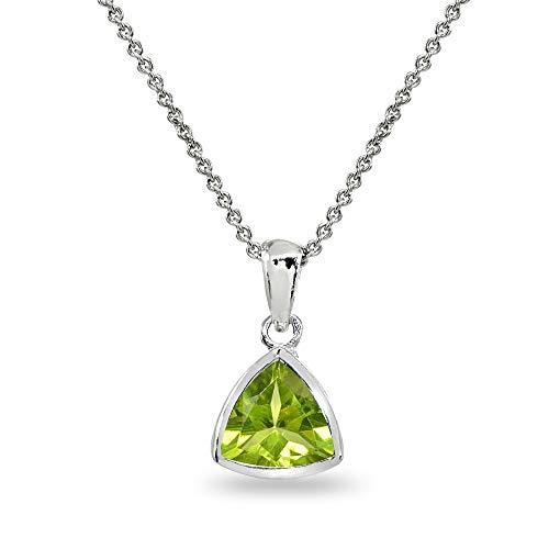 (Sterling Silver Peridot 8mm Trillion Bezel-Set Dainty Pendant Necklace for Women, Teen Girls)