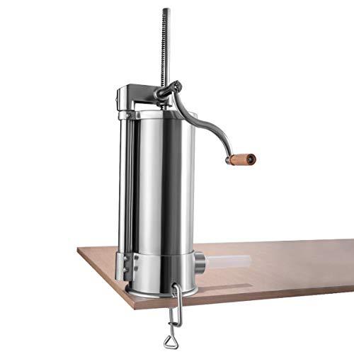 DPThouse 6L Vertical Sausage Stuffer Maker Stainless Steel Home Commercial Cylinder Filler Meat Grinder, Silver ()