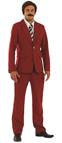 Mens Newsreader TV Film Celebrity Famous Comedian Comic Fancy Dress Costume Outfit (Large) Red (Best Male Celebrity Costumes)
