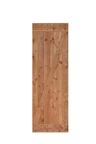 LUBANN 28 in. x 84 in. Rustic Z-Brace Hardwood Barn Door Unfinished Knotty Alder Solid Wood Barn Door Slab