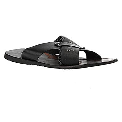 Salt n Pepper Top Black 100% Genuine Leather Men Comfortable Slippers Thong Sandals at amazon