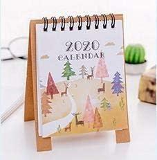 Tischkalender Kalendarien Handzeichnung 2020 Frischen Cartoon Mini Flamingo Desktop-Papier Kalender Dual Täglich Scheduler Tabelle Planner Jahr Agenda Organizer (Color : Forest)