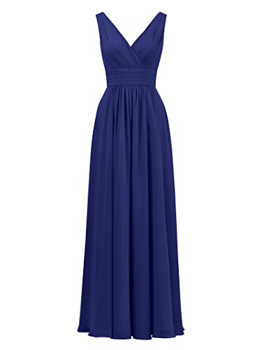 Royal Neck Long Sleeveless Party Bridesmaid Ball Dress Prom Gown Gown Blue V Bridal Alicepub Fnwqpf5