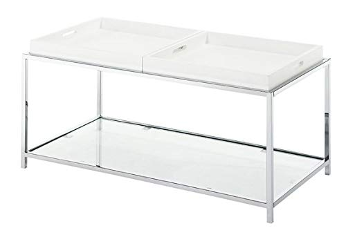 (Wood Coffee Table with Metal Base - Rectangular Coffee Table with 2 Shelves - White)