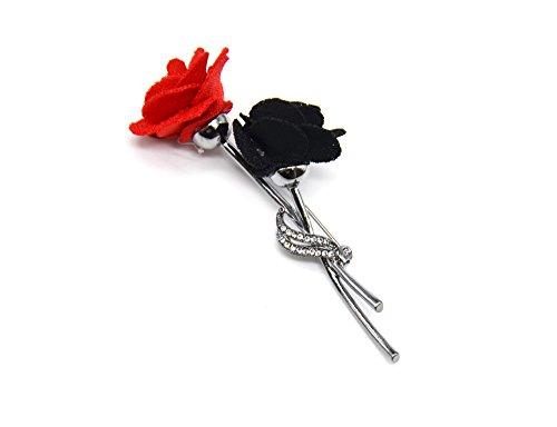 BR127E - Broche Epingle Double Roses Fleurs Feutrine Noir/Rouge avec Strass et Métal Gris
