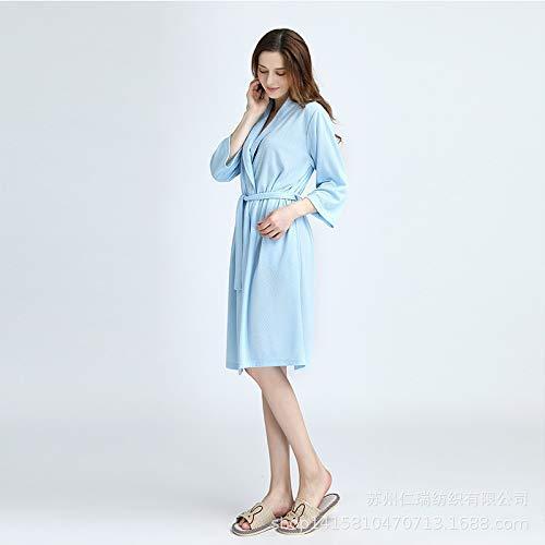 FERFERFERWON Nachthemd Pyjamas Fashion Jacquard Lingge Soft-Feuchtigkeits-Schweiß Anti-Falten-Nachthemd (Farbe  Blau, Größe  XL)