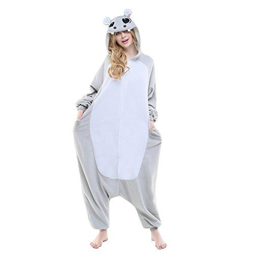 Unisex Adult Animal Pajamas Custome Cosplay for Halloween Christmas (Small, Grey Hippo)]()