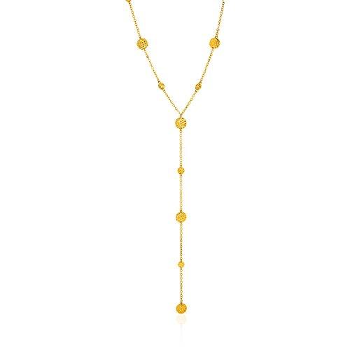 Circle Textured Necklace - 14k Yellow Gold Lariat Necklace with Textured Flat Circles