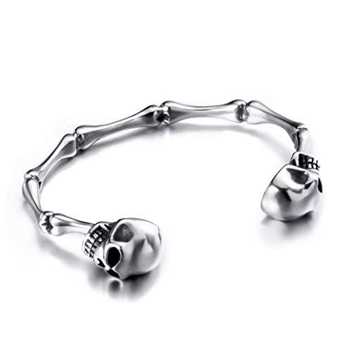 Elfasio Adjustable Size Men Skull Bracelet Stainless Steel Skeleton Bones Silver Cuff Biker Bangles ()
