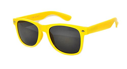 Retro 80's Vintage Sunglasses Yellow Frame Smoke Lens Owl - Online Sunglasses Brand