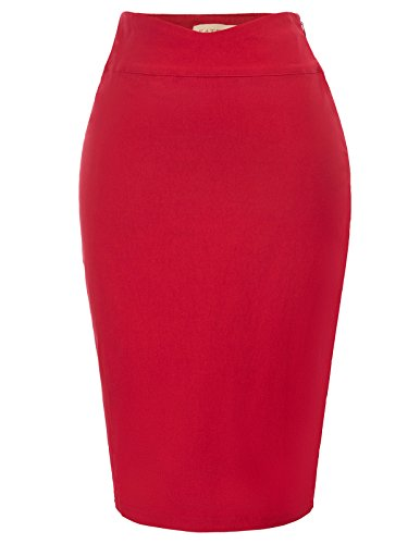 Kate Kasin Women's Solid Wear to Work Bodycon Midi Skirts Business Office Size L Red KK926-2 by Kate Kasin