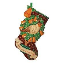 "18"" Long Stocking Felt Applique Kit: Partridge In A Pear Tre"