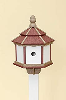 product image for DutchCrafters Poly 3-Hole Hexagon Birdhouse (Cherry Wood/Weatherwood/White)