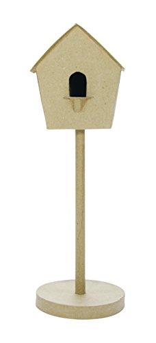 - décopatch Mache Tall Standing Bird House, 16 x 16 x 50 cm, Brown