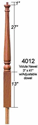 4012 Red Oak Colonial Pin Top Starting Newel Post