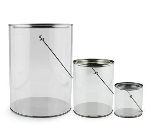 Set of 3 Plastic Paint Cans (Mini, Quart & Gallon); Clear Arts & Crafts Paint Buckets for Decorative & Party Use ()
