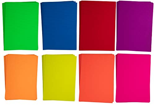 Corrugated Cardboard Sheets - 64-Pack Colored Corrugated Paper, Corrugated Cardstock for DIY Arts and Crafts Projects, Scrapbooking, 8 Assorted Colors, 8.25 x 11.75 Inches -
