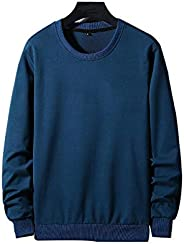 Spring Pullover Plain Men Stylish Long Sleeves T Shirt Cotton Round Neck Sweatshirt Plus Size Casual Coats for
