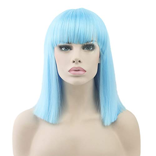 8 Colors Synthetic Hair Heat Resistant Blue Black Wig Party Straight Short Cosplay for -