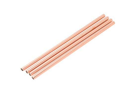 5 pcs Copper Drinking Straws - Large Size Smoothie or Cocktail Straws or Only Cold Drinks - Handcrafted 100% Pure Copper - INCLUDES FREE WIRE CLEANING BRUSH!