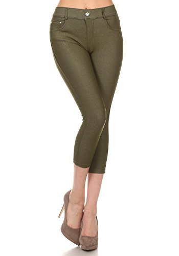 Yelete Women's Basic Solid Color Cotton Blend Capri Jeggings (M/L, Army Green)