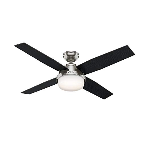 Hunter Indoor Ceiling Fan with LED Light and remote control – BN 52 inch, Brushed Nickel with Tunable White Light, 59451