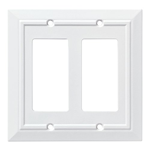 Decorative Cover Plates - Franklin Brass W35248-PW-C Classic Architecture Double Decorator Wall Plate/Switch Plate/Cover, White
