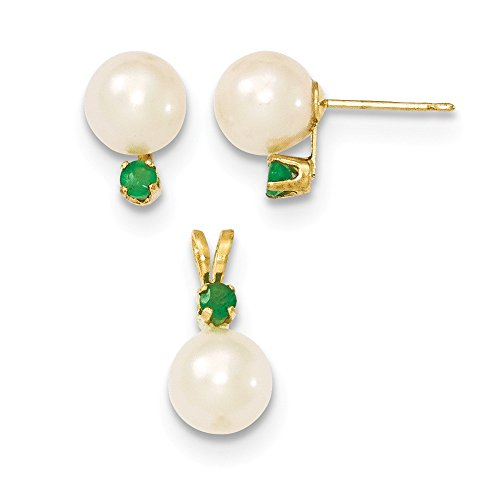 (14K Yellow Gold 7-8mm White FW Cultured Pearl & Emerald Stud Earrings & Pendant)