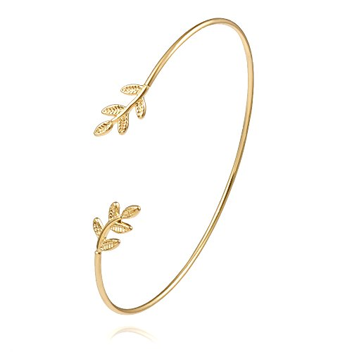 (NOUMANDA Olive Leaf Branch Wire Bangle Adjustable Open Cuff Bracelet for Women (Gold))